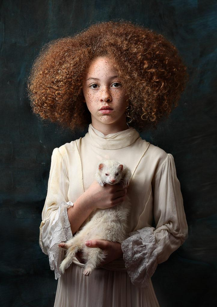 girl with ferret