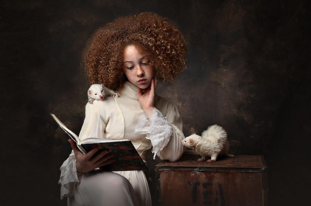 girl and ferrets, fine art